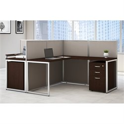 Bush BBF Easy Office L Shaped Wood Computer Desk with Drawers for Two