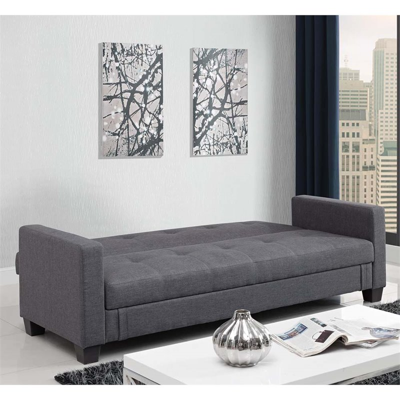 Linen Storage Convertible Sofa In Gray