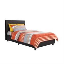 Faux Leather Upholstered Twin Platform Bed in Black