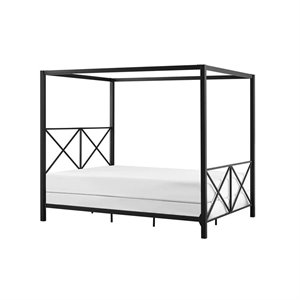 Modern Romance Metal Queen Canopy Bed in Black
