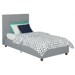 Linen Upholstered High Back Twin Bed in Light Gray