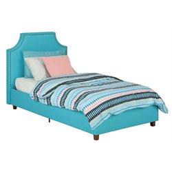 Upholstered Nailhead Trim High Back Twin Bed in Teal Blue