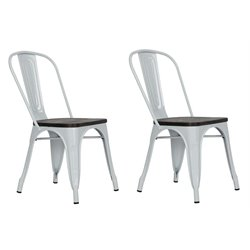 Metal Dining Chair with Wooden Seat in White (Set of 2)