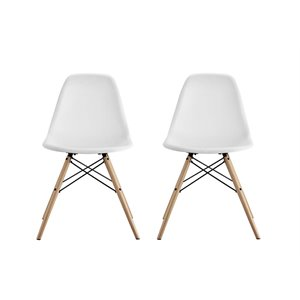 Modern Molded Dining Chair in White (Set of 2)