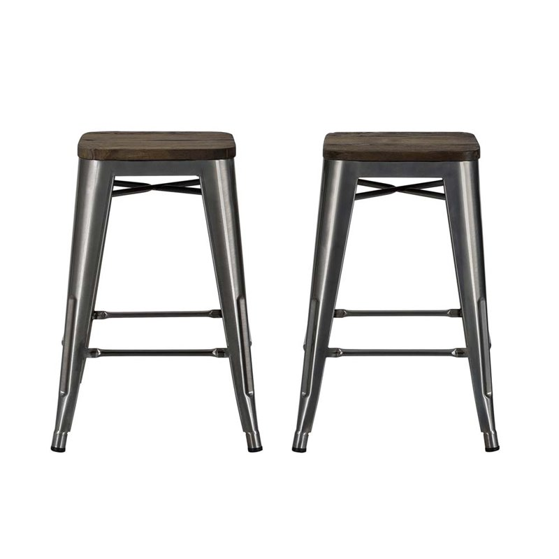 24 Quot Industrial Counter Stool In Antique Gun Metal Set Of