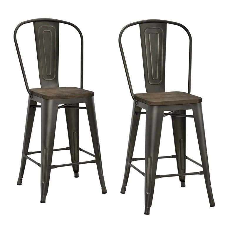 24 Quot Metal Counter Stool In Antique Copper Set Of 2 S004106