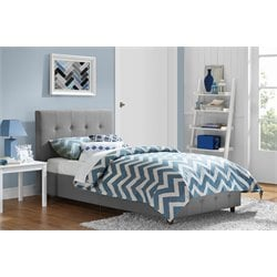 Linen Upholstered Twin Platform Bed in Gray
