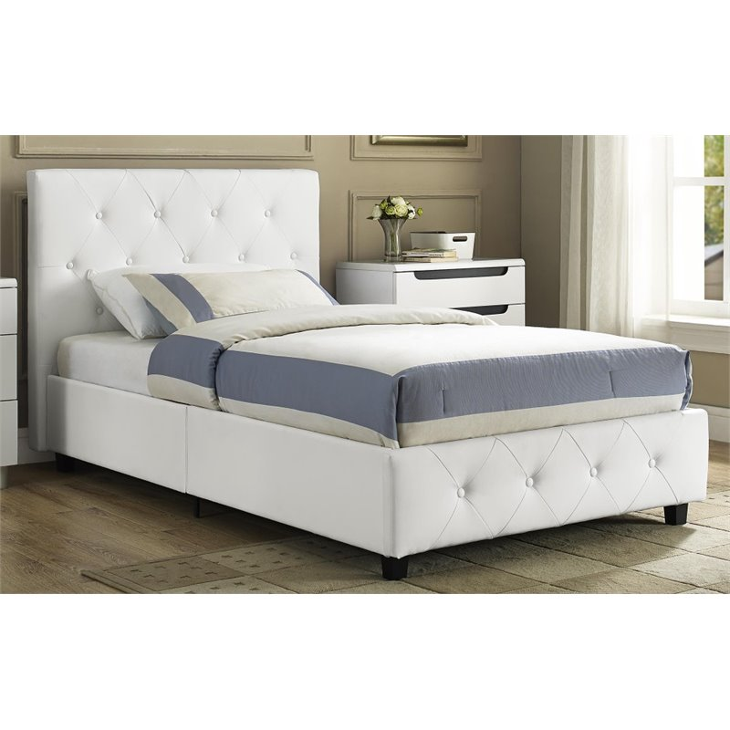 Upholstered Faux Leather Twin Bed in White 4027119 : 1406015 51 L from www.cymax.com size 800 x 800 jpeg 64kB