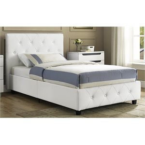 Upholstered Faux Leather Twin Bed in White