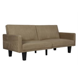 Split Microfiber Convertible Sofa in Tan