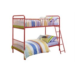 Iron Twin Bunk Bed in Red