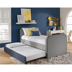 Twin Kids Bed with Trundle in Gray Linen