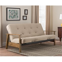 Wood Arm Futon with 6'' Coil Mattress in Tan Linen
