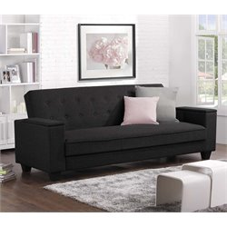 Laptop Tray Convertible Sofa in Black