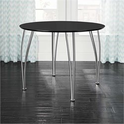 Round Dining Table with Chrome Legs in Black
