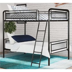 Twin over Twin Metal Bunk Bed in Black