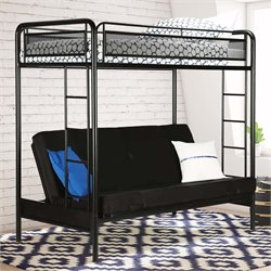 Twin over Futon Metal Bunk Bed in Black