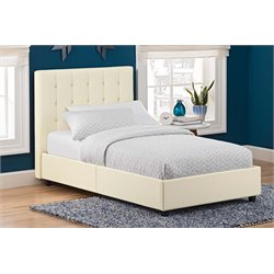 Faux Leather Upholstered Twin Bed in Vanilla
