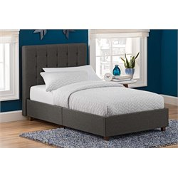 Linen Upholstered Twin Bed in Gray