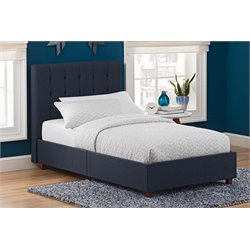 Linen Upholstered Twin Bed in Blue