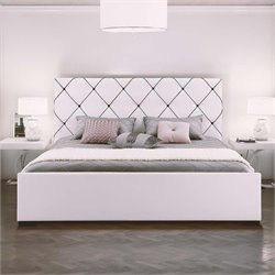 Faux Leather Upholstered Queen Bed in White