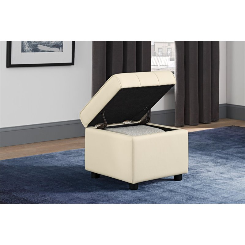 DHP Emily Faux Leather Storage Ottoman in Vanilla