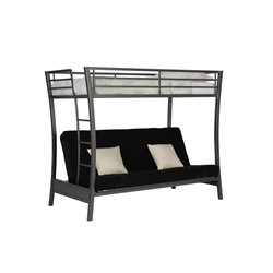 DHP Metropolis Twin over Futon Bunk Bed in Gun Metal Gray