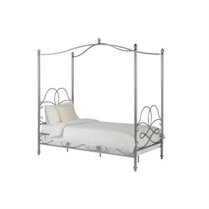 DHP Fancy Canopy Panel Bed in White-HH