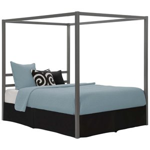 dhp modern queen metal canopy bed in gunmetal gray