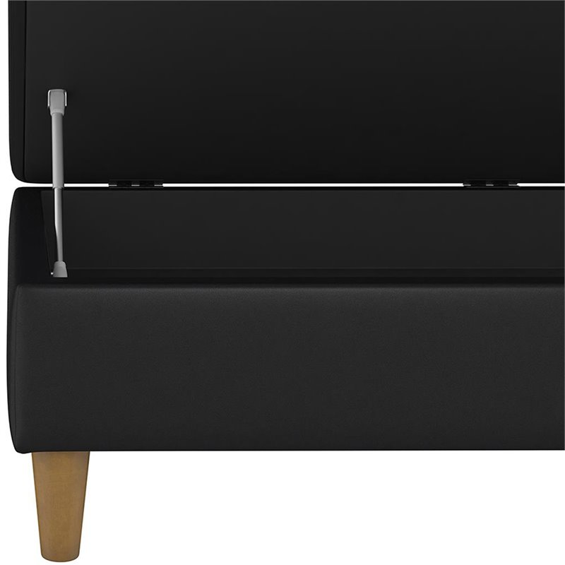 DHP Hartford Faux Leather Storage Ottoman in Black