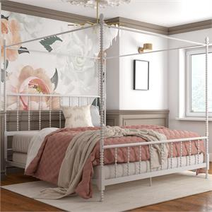 DHP Emerson Metal Canopy Bed in King Size Frame in White