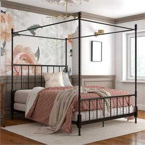 DHP Emerson Metal Canopy Bed in Full Size Frame in Black