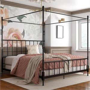 DHP Emerson Metal Canopy Bed in King Size Frame in Black