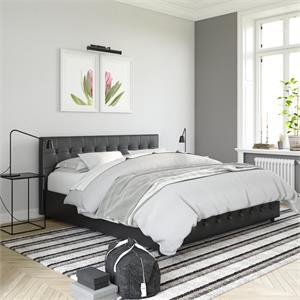 DHP Sherry Upholstered Bed in King Size Frame in Black Faux Leather