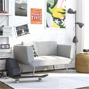 DHP Euro Upholstered Futon with Magazine Storage in Light Grey Linen