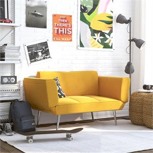 DHP Euro Upholstered Futon with Magazine Storage in Mustard Yellow