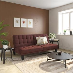 DHP Dexter Futon and Lounger in Convertible Sofa Bed and Couch in Berry