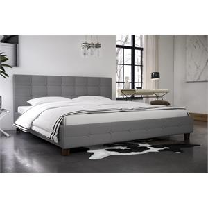 DHP Rose Upholstered King Bed in Gray