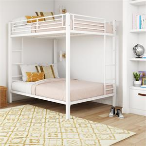 DHP Full over Full Metal Bunk Bed with Ladder in White