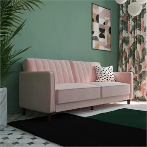 DHP Ivana Tufted Transitional Futon in Pink Velvet