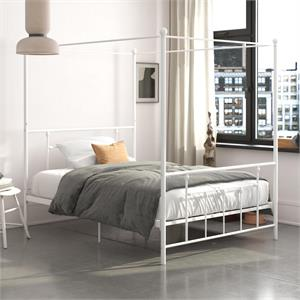 DHP Manila Metal Canopy Bed in Queen Size Frame in White