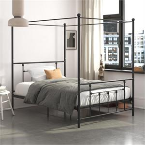 DHP Manila Metal Canopy Bed in Queen Size Frame in Black