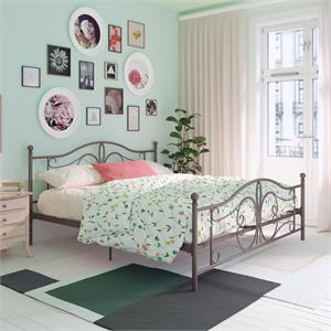 DHP Bombay Metal Bed King Size Frame with Underbed Storage in Bronze