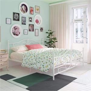 DHP Bombay Metal Bed King Size Frame with Underbed Storage in White
