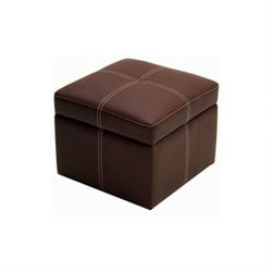 Faux Leather Storage Cube Ottoman in Coffee Brown