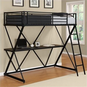 X Shaped Metal Twin Loft Bed in Black with Desk