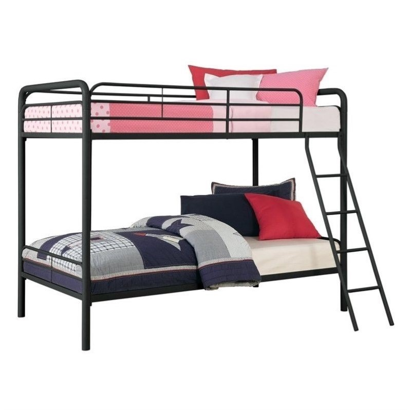 Metal Twin Over Twin Bunk Bed In Black 3135196
