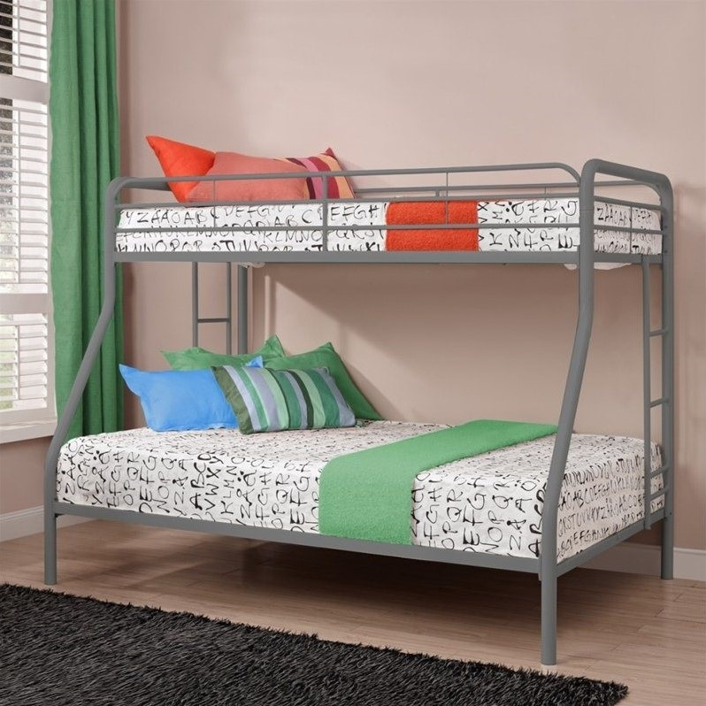 Metal Twin over Full Bunk Bed in Silver