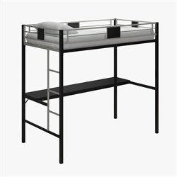 Metal Twin Loft Bed in Black with Desk
