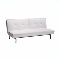 Belle Leather Convertible Sofa in White